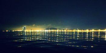 View of Samba during a Barcelona night sailing trip last year