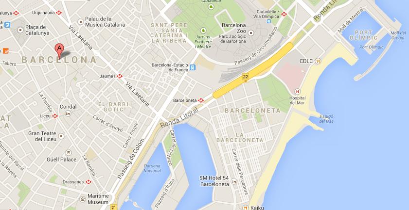 Map of Port Olimpic in Barcelona