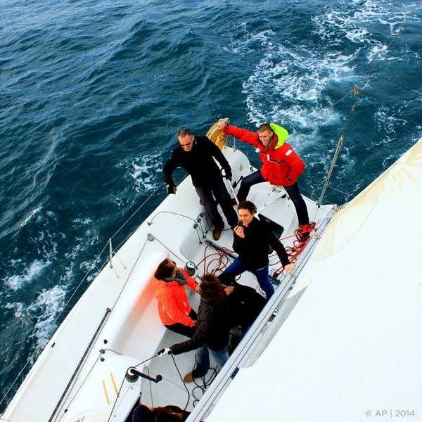 View from the mast during a Barcelona group sailing trip