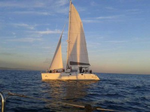 Catamaran sailing tour in sunset for the Barcelona Coast