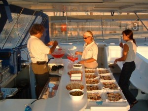 Catamaran sailing tour sunset menu