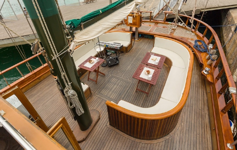 Seating area on our Schooner, a great yacht for large groups.