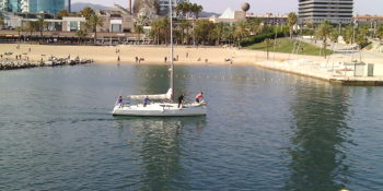 electric sailing into port olimpic