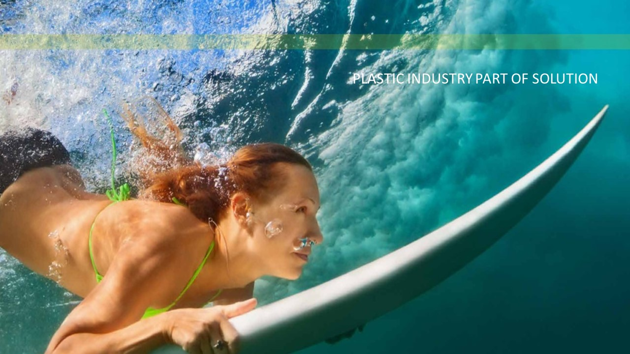 plastic surf board on the sea