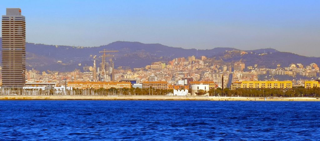 Barcelona seen from a sail boat