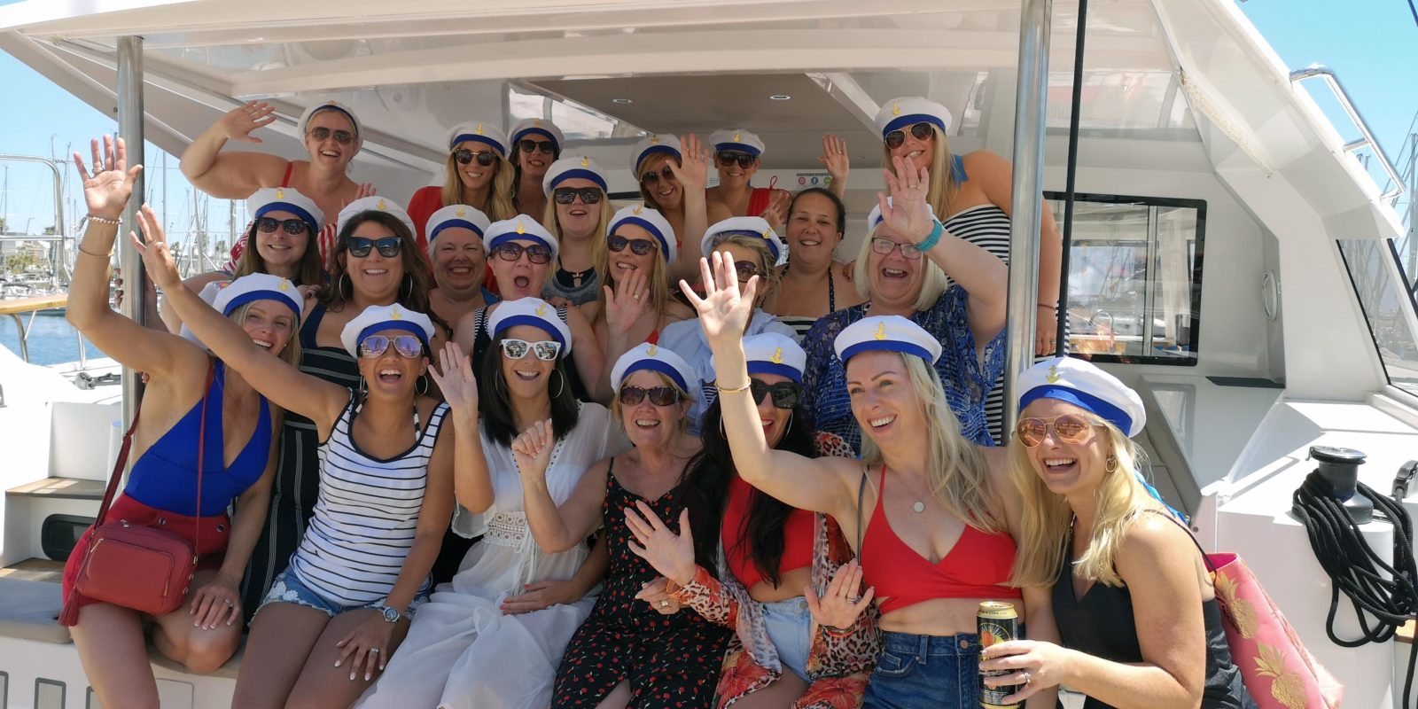 Girls sailing hen boat tours party in Barcelona