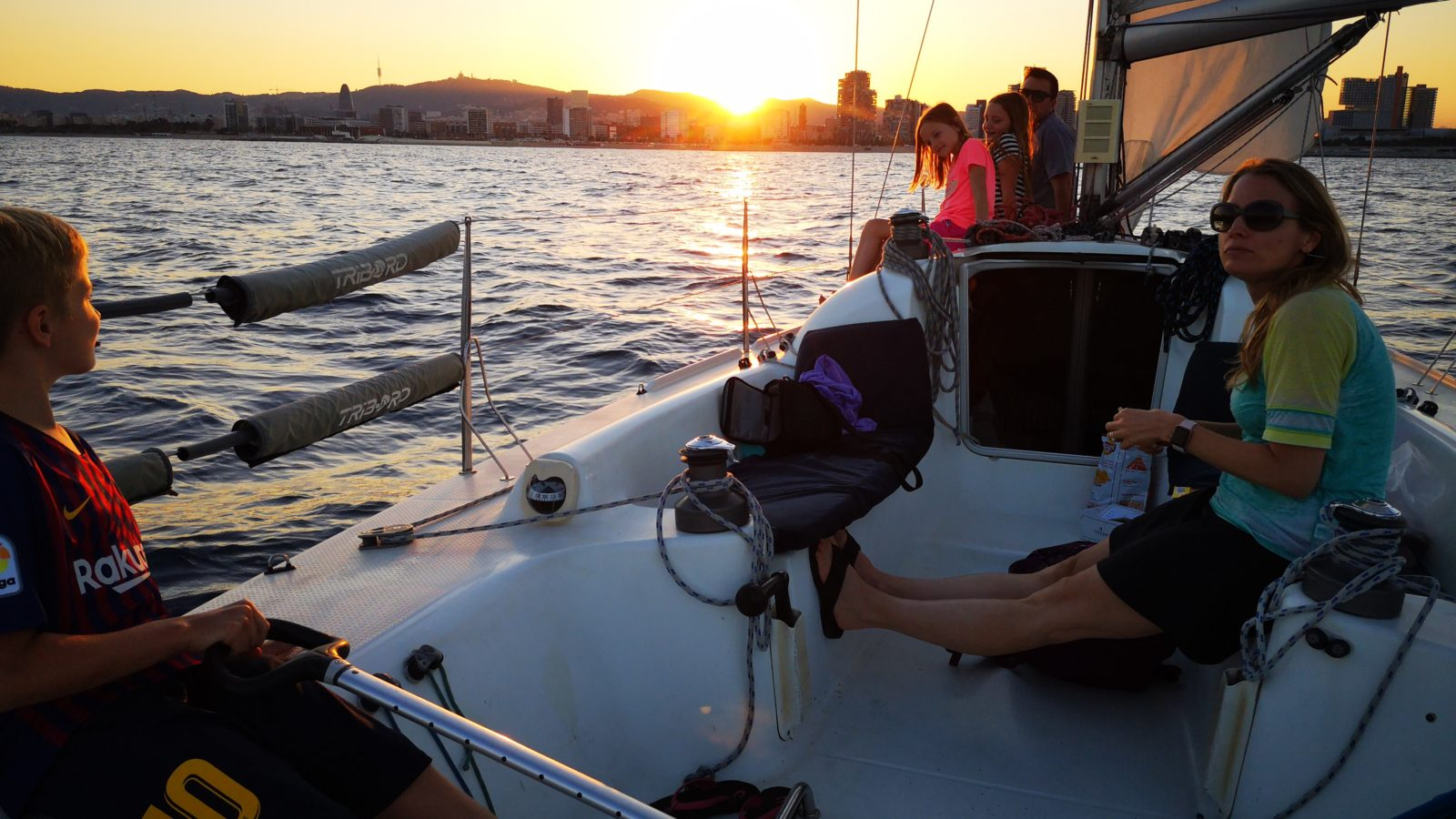 Our new crew sailing back to Barcelona