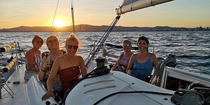 Sagrada familia Sailing in Barcelona with sunset